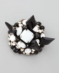 Donna Karan - Black Beaded Dome Brooch - Lyst