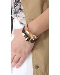Linea Pelle - Brown Avery Buckle Leather Bracelet - Lyst
