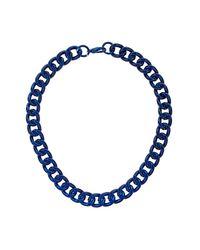 TOPSHOP - Blue Metallic Curb Chain Collar - Lyst