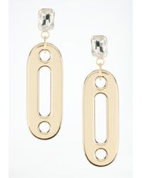 Bebe | Metallic Oversized Link Crystal Earrings | Lyst
