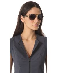 Gucci | Aviator Sunglasses With Glitter Temples - Shiny Black | Lyst