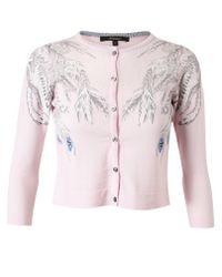 Horiyoshi III - Pink Phoenix Cropped Cashmere Cardigan - Lyst