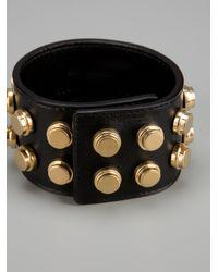 Saint Laurent - Black Studded Cuff Bracelet - Lyst