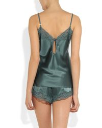 Stella McCartney - Green Ruby Snoozing Stretch Silk and Lace Camisole - Lyst