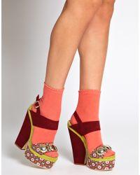 ASOS | Red Asos Helter Skelter Heeled Sandals | Lyst