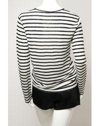 T By Alexander Wang - White Stripe Linen Long Sleeve Tee - Lyst