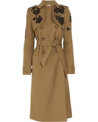 Erdem | Natural Leta Lace Appliqué Twill Trench Coat | Lyst