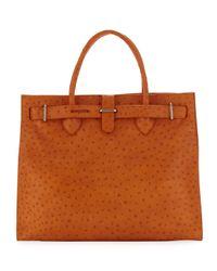 Furla | Orange Greta Large Ostrichembossed Shopper Bag | Lyst