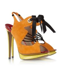 Nicholas Kirkwood | Natural Suede and Elaphe Slingback Sandals | Lyst