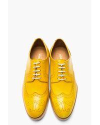 KENZO - Metallic Mustard Yellow Leather Elliott Wingtip Brogues for Men - Lyst