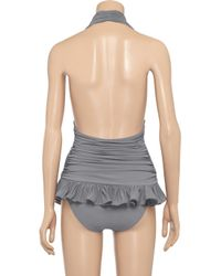 Norma Kamali - Gray Ruched Halterneck Swimsuit - Lyst