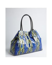 Big Buddha - Multicolor Cobalt and Green Faux Snake Embossed Leather Heydon Tote - Lyst