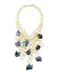 Devon Leigh | Blue Hammeredchain Pearl Bib Necklace | Lyst