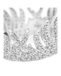 House of Waris - Metallic White Flame 18kt White Gold Ring With White Pavé Diamonds - Lyst