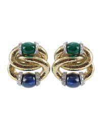David Webb - Green Double Hoop Earrings - Lyst