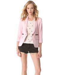 Smythe | Pink One Button Shawl Blazer | Lyst
