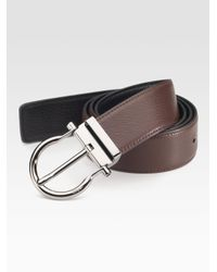 Ferragamo - Black Reversible Deerskin Belt for Men - Lyst