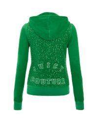 Juicy Couture | Green Velour Logo Hooded Sweatshirt | Lyst