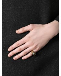 DINA KAMAL DK01 - Metallic Grey Pearl and Gold Pinky Ring - Lyst