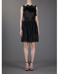 Nina Ricci - Black Lace and Ruffle Dress - Lyst