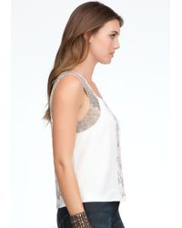 Bebe - White Bead Embroidery Crop Tank - Lyst