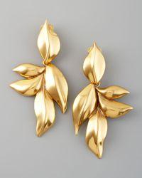 Oscar de la Renta   Metallic Gold Leaf Clip Earrings   Lyst