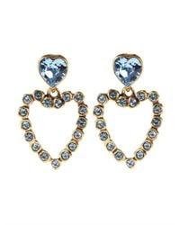 Oscar de la Renta | Metallic Swarovski Heart Clip Earring | Lyst