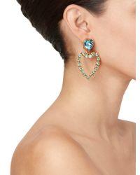 Oscar de la Renta - Metallic Swarovski Heart Clip Earring - Lyst