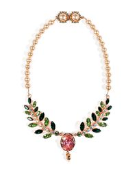 Mawi - Multicolor Rose Goldplated Pearlized Necklace with Ornate Leaf - Lyst
