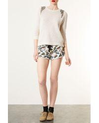 TOPSHOP - Natural Knitted Embellished Jumper - Lyst