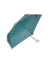 TOPSHOP | Blue Polka Dot Crook Umbrella | Lyst