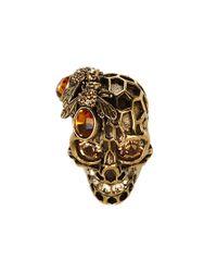 Alexander McQueen - Metallic Bee Skull Ring - Lyst