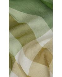 Burberry | Green Check Silk Crépon Scarf | Lyst