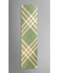 Burberry   Green Check Silk Crépon Scarf   Lyst