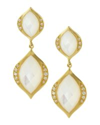 Elizabeth Showers | Metallic Simone Mother Of Pearl Drop Earrings | Lyst