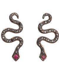 Ileana Makri | Gray Little Snake Studs | Lyst