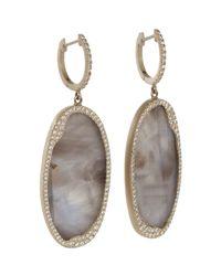Monique Péan - White Diamond Grey Sapphire Slice Earrings - Lyst