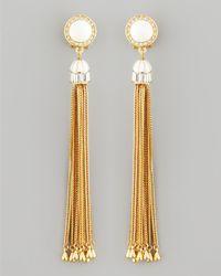 Rachel Zoe   Metallic Tassel Post Earrings White   Lyst
