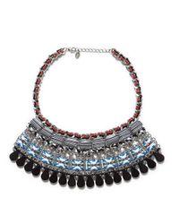 Zara | Metallic Multicolored Ethnic Necklace with Stones | Lyst