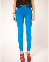 American Apparel | Blue Coloured High Waist Jeans | Lyst