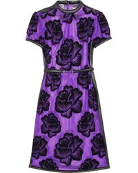 Christopher Kane - Purple Leathertrimmed Flocked Tulle Dress - Lyst