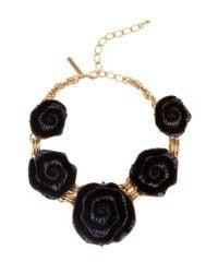 Oscar de la Renta | Metallic Resin Flower Necklace | Lyst