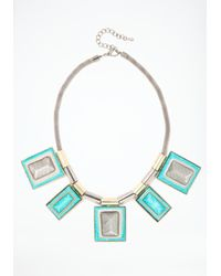 Bebe | Blue Oversized Rectangular Stone Statement Necklace | Lyst