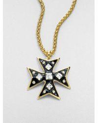 Kenneth Jay Lane - Black Swarovski Crystal Enamel Cross Pendant Necklace - Lyst