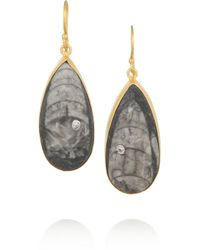 Kevia | Gray Goldplated Orthoceras Fossil and Cubic Zirconia Earrings | Lyst