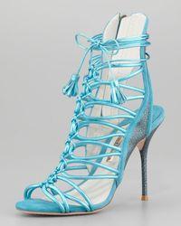 Sophia Webster - Blue Lacey Metallic Multistrap Tassel Sandal - Lyst