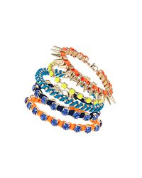 TOPSHOP - Multicolor Fabric Stone Bracelet Pack - Lyst