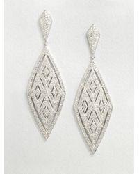 Adriana Orsini   Metallic Crystal Encrusted Diamond Drop Earrings   Lyst