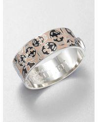 Alexander McQueen | Pink Two Tone Enamel Skull Bangle Bracelet | Lyst