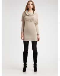 Alice + Olivia - Natural Fifi Knit Tunic with Scarf - Lyst